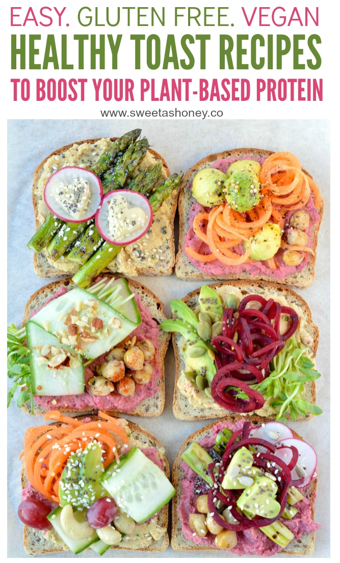 6 Delicious Healthy Toast Recipes to eat for lunch. Vegan toppings with nourishing gluten free Sprouted Bread. Easy recipes ide