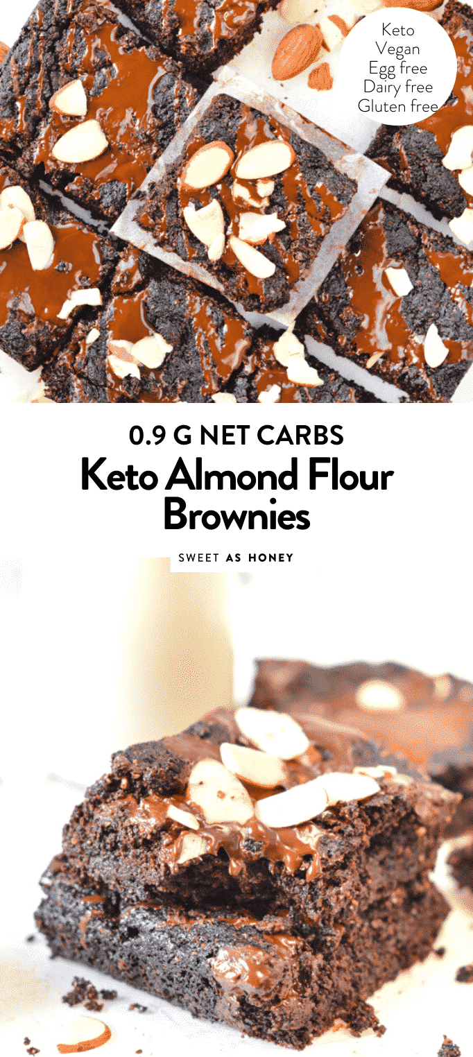 KETO ALMOND FLOUR BROWNIES EGG FREE #keto #vegan #almondflourbrownies #brownies #almondflour #glutenfree #dairyfree #paleo #sugarfree #lowcarb #eggless #easy #healthy #fudgy #cocoa