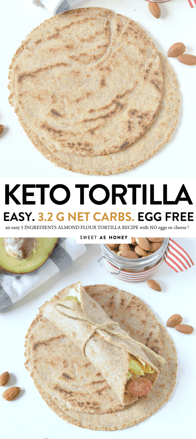 KETO ALMOND FLOUR TORTILLAS 5 Ingredients, Vegan Almond flour tortillas keto + low carb + vegan. An easy 5 ingredients recipe to make delicious homemade wraps. #keto #ketotortillas #lowcarb #glutenfree #dairyfree #lowcarb #almondflour #glutenfree #ketovegan