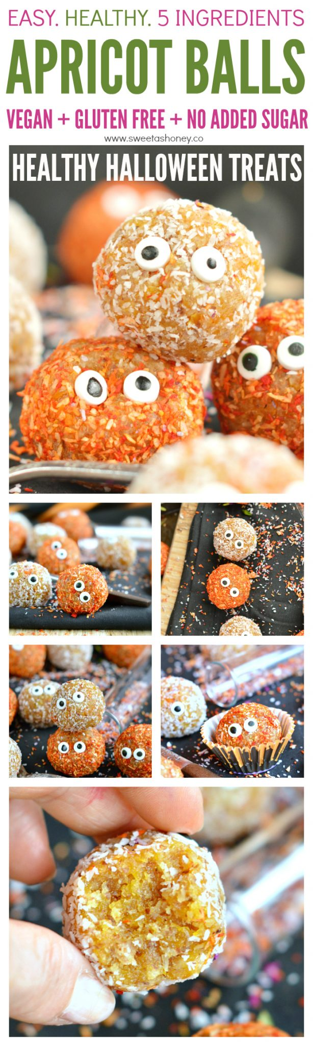 Those Apricot Balls with dried fruits and coconut makes an awesome healthy Halloween treats for kids for school or hand out. A fun and easy bliss ball recipe with a scary monster look, ready in 10 minutes in your food processor. Vegan, gluten free and dairy free.