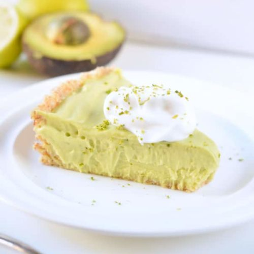 Avocado key lime pie vegan, no bake and low carb.