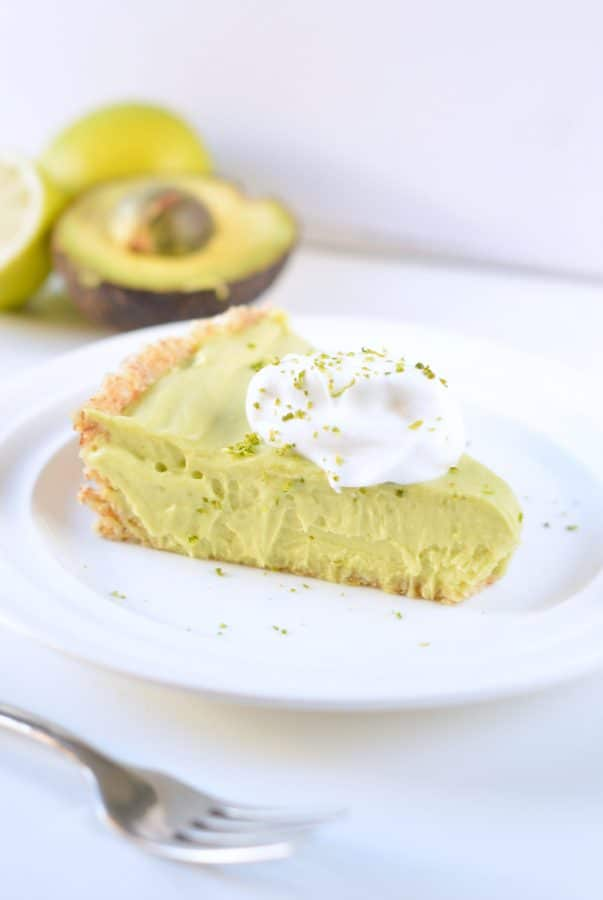 Avocado key lime pie vegan, no bake and low carb.