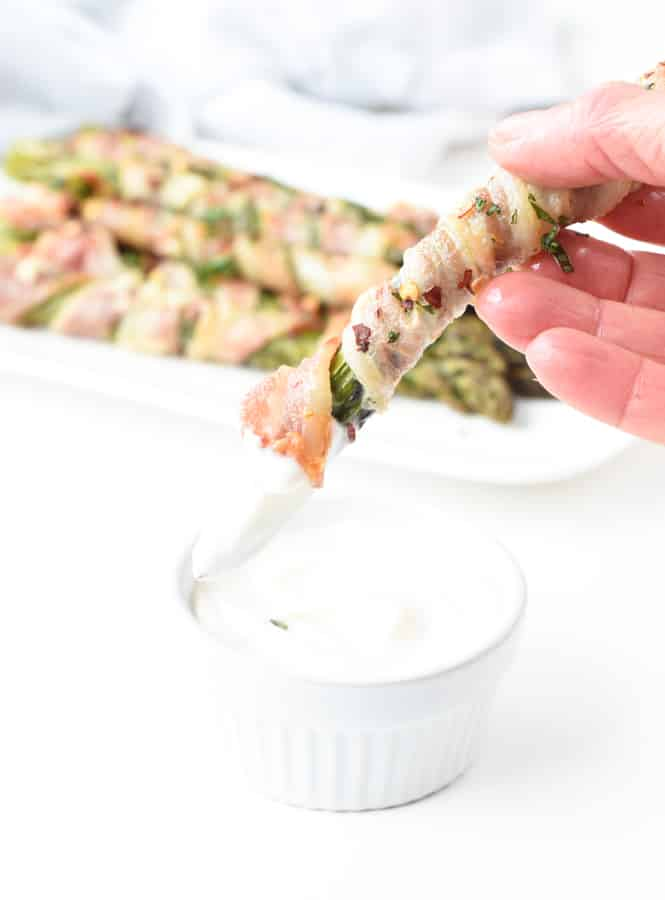 Bacon wrapped asparagus serving