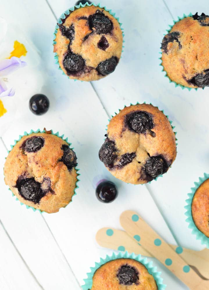 Whole Wheat Banana Blueberry Muffins