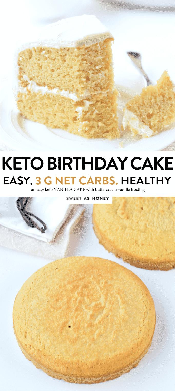 KETO BIRTHDAY VANILLA CAKE , 3 g net carb per serve #ketocake #keto #lowcarbrecipes #lowcarb #ketovanillacake #vanillacake #almondflour #birthdaycake #easy #onebowl #healthy #birthday #moist #best #videos #stevia #coconutoil #dairyfree #glutenfree