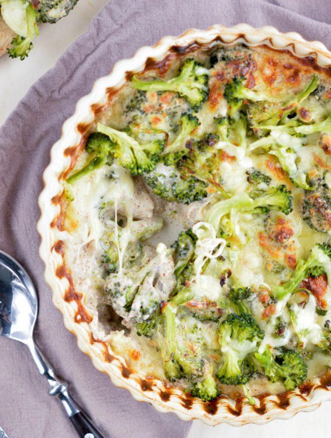 Broccoli Quinoa Casserole with Gluten free white sauce
