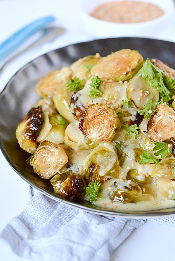Brussel sprouts with mustard sauce