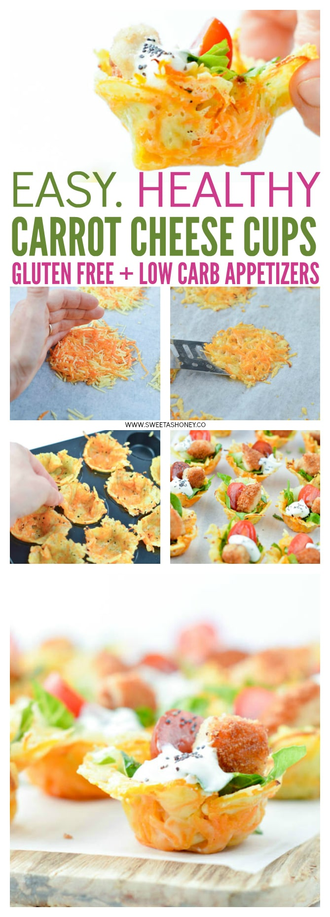 Crispy Carrot Parmesan Cups are perfect bite-size bowls to serve caesar salad. A cute easy healthy appetizer for your next party. Gluten free, low carb.