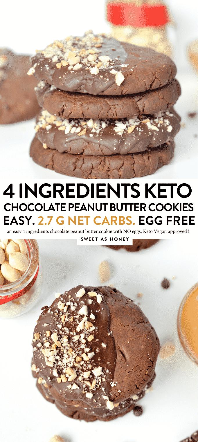 KETO PEANUT BUTTER CHOCOLATE COOKIES 4 INGREDIENTS #4ingredients #coconutflour #peanutbutter #chocolate #cookies #keto #snacks #ketovegan