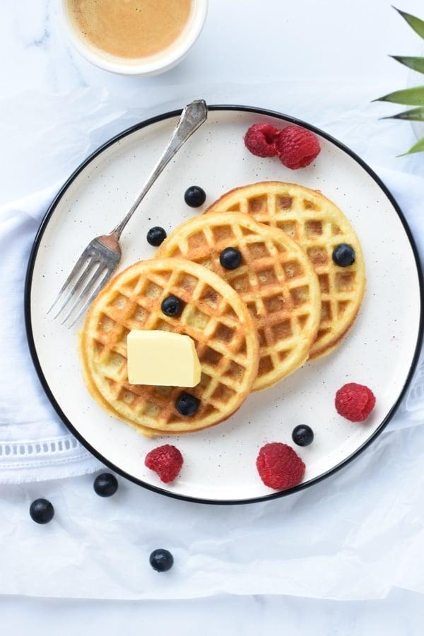 Coconut flour waffles dairy free keto 1 g net carbs