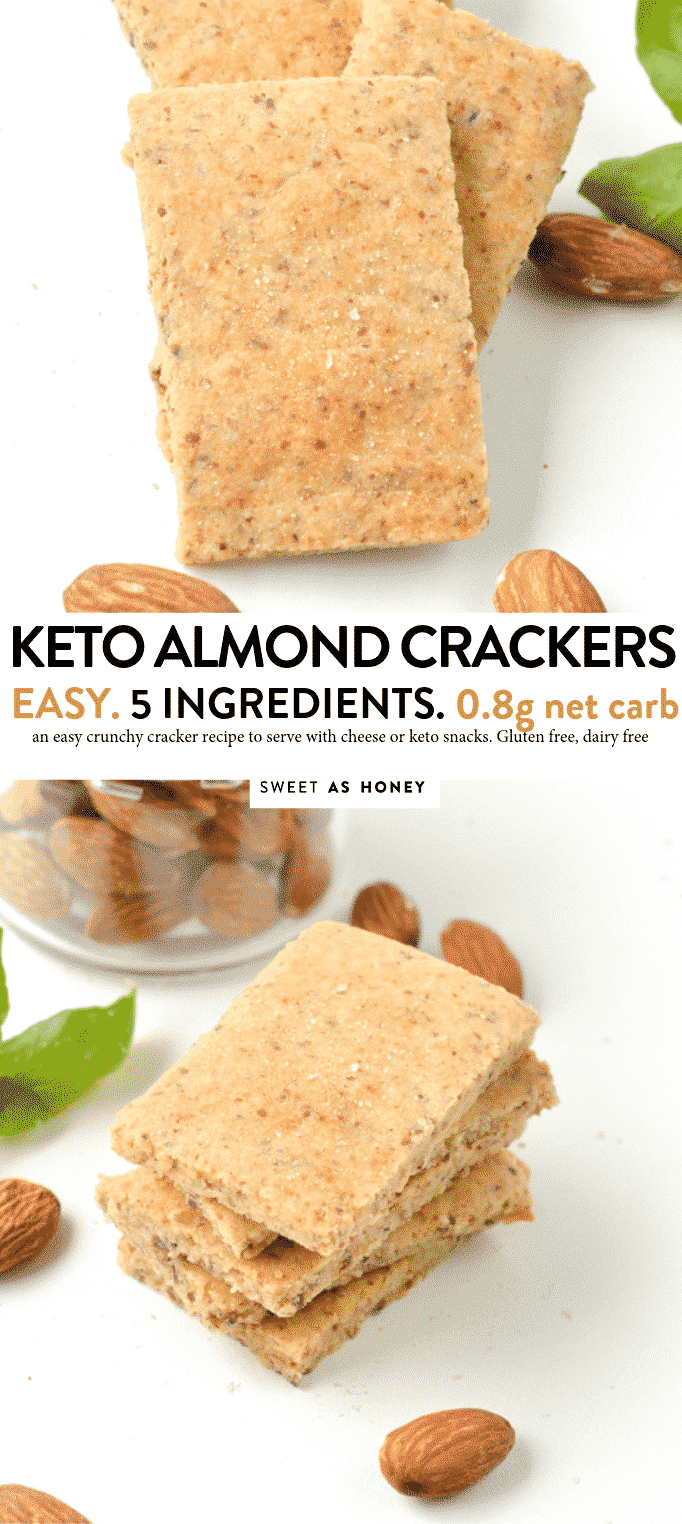 KETO ALMOND CRACKERS 0.8 g net carbs, gluten free #keto #Crackers #lowcarb #glutenfree #healthy #4ingredients #easy #ketorecipes #appetizers #snacks