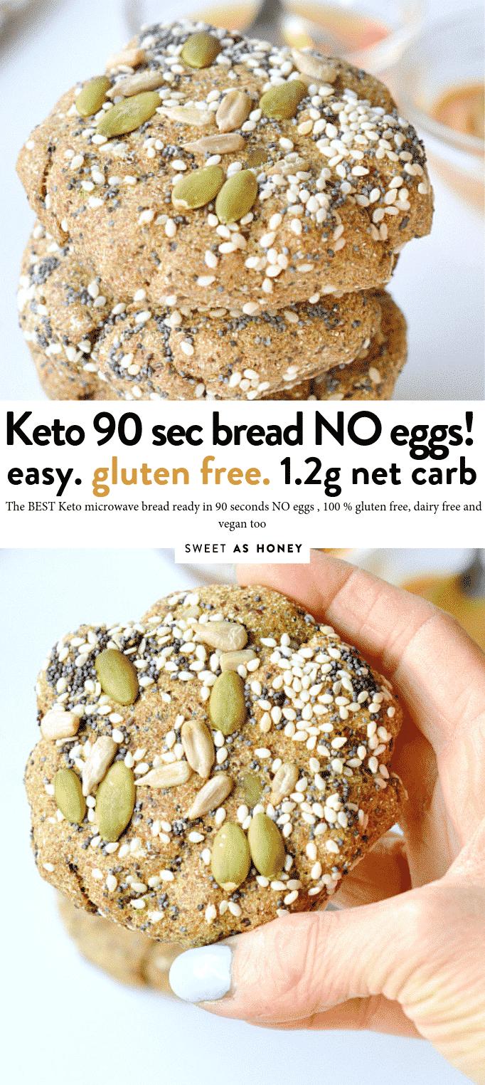 KETO MICROWAVE BREAD NO EGGS #ketobread #easy #microwave #90seconds #veganbread #veganketo #ketovegan #keto #easy #healthy #flaxseed