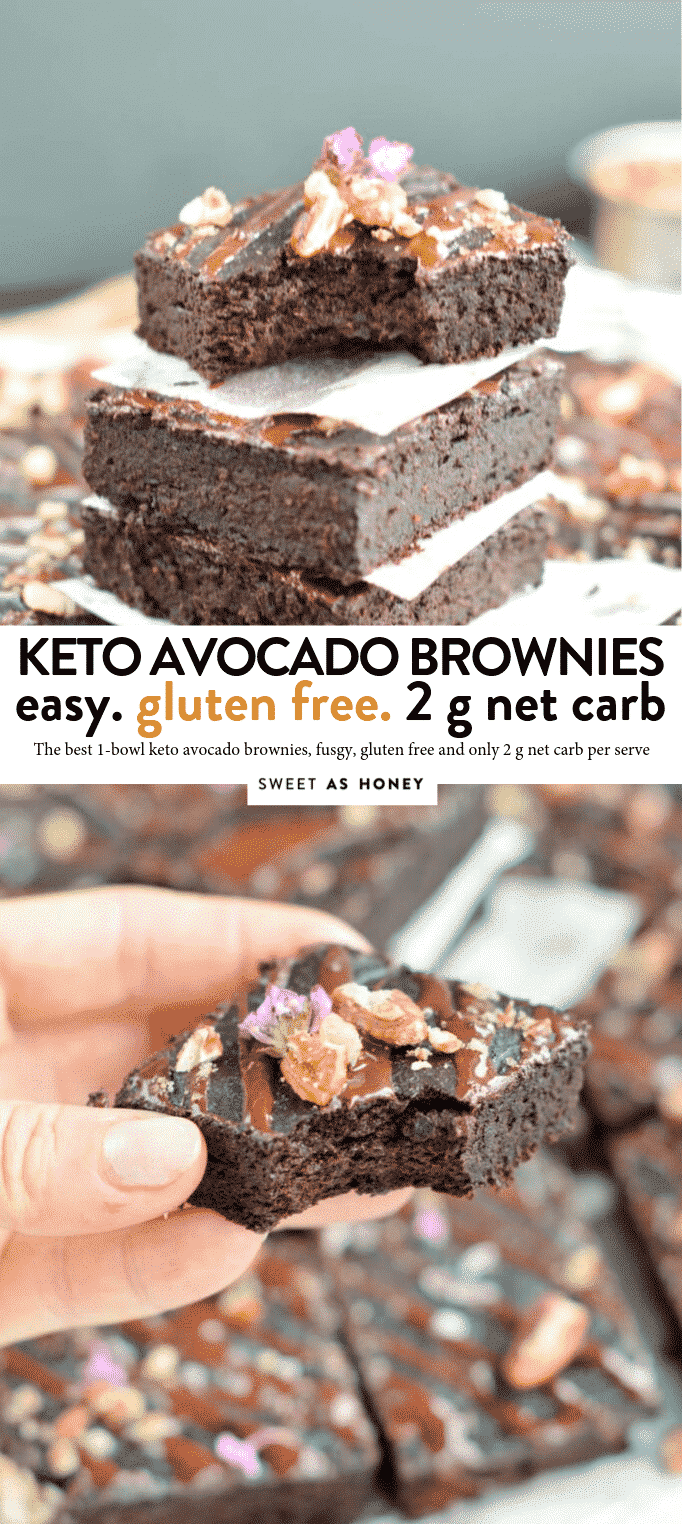 KETO AVOCADO BROWNIES 2 g net carbs #ketobrownies #keto #brownies #lowcarb #avocado #easy #healthy #onebowl #avocadobrownies