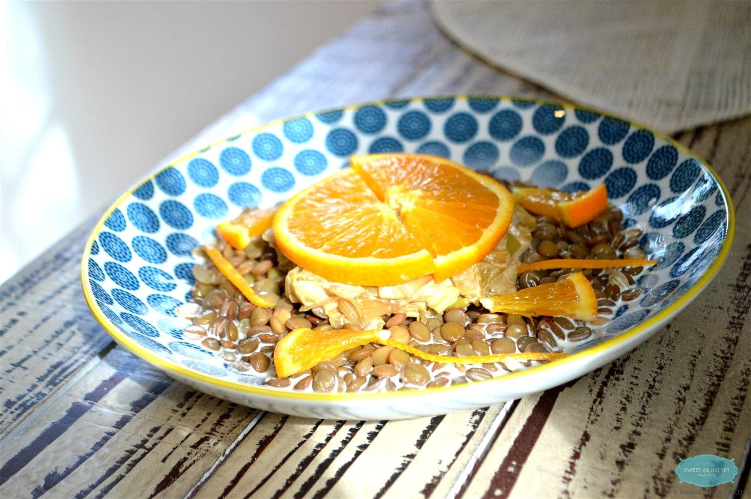 Green Lentils Leek with a Creamy Orange Sauce