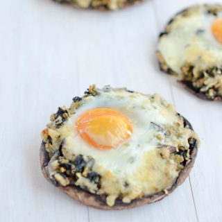 Kale Quinoa Stuffed Portobello Mushrooms with goat cheese makes a delicious healthy vegetarian dinner or breakfast. Low carb, gluten free.