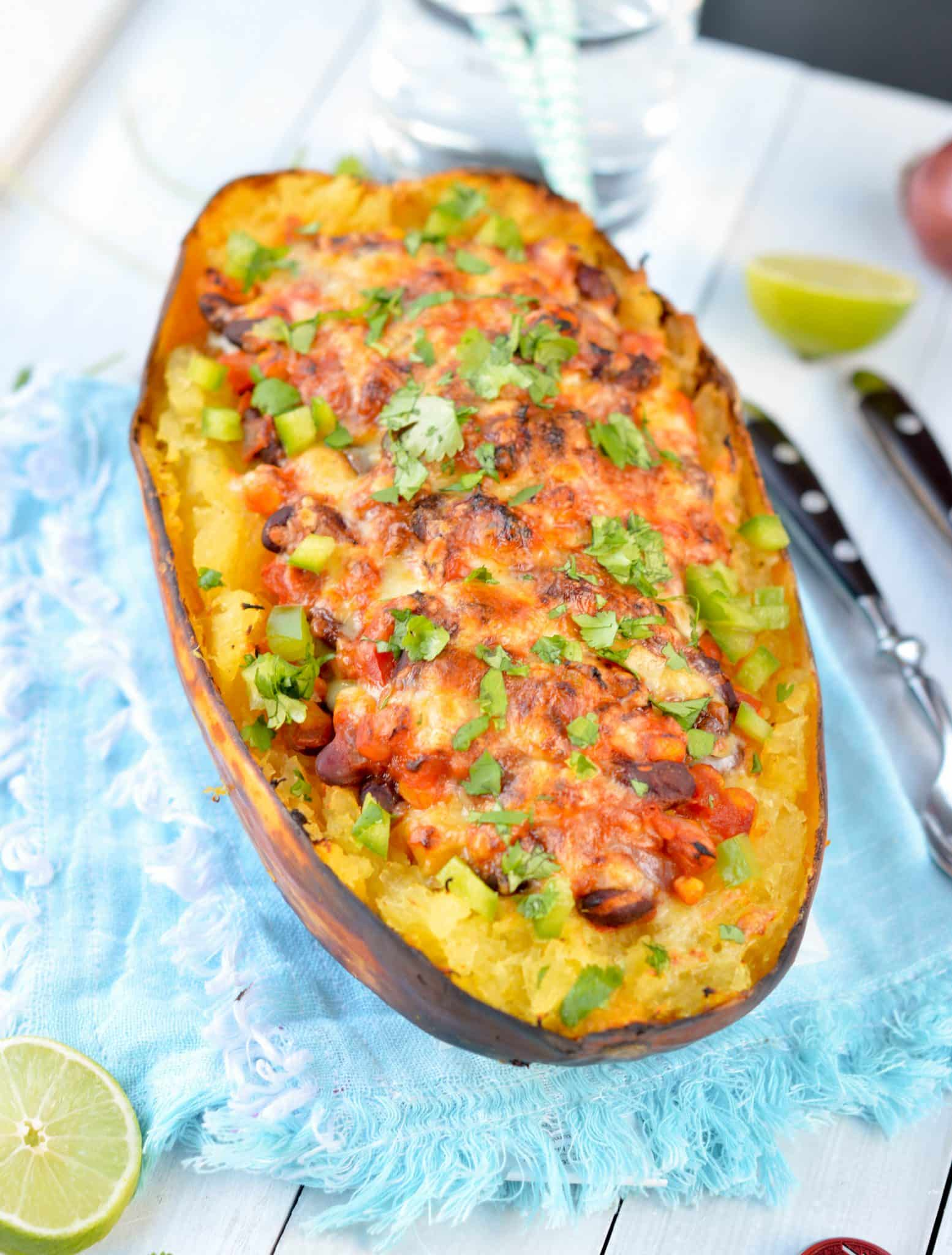 Spaghetti squash taco bowl with Black Beans . A delicious healthy Vegetarian mexican meal (vegan option provided) include how to cook squash tutorial.