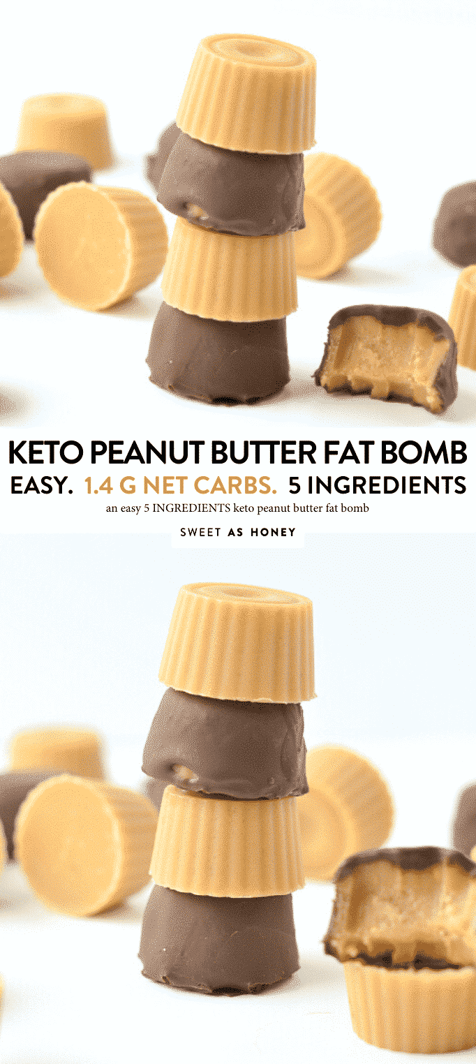 KETO PEANUT BUTTER FAT BOMB 1.4 g net carb, no dairy, no sugr #peanutbutter #fatbomb #truffles #keto #lowcarb #glutenfree #dairyfree #healthy #sugarfree #snaks
