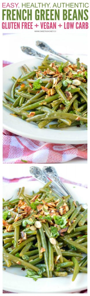 AUTHENTIC FRENCH GREEN BEAN recipe from my mum sauteed in olive oils with almonds, shallots, garlic and deglazed with lemon juice. An easy side dish for Holidays, Christmas or Thanksgiving. Dairy free + gluten free + vegan + low carb