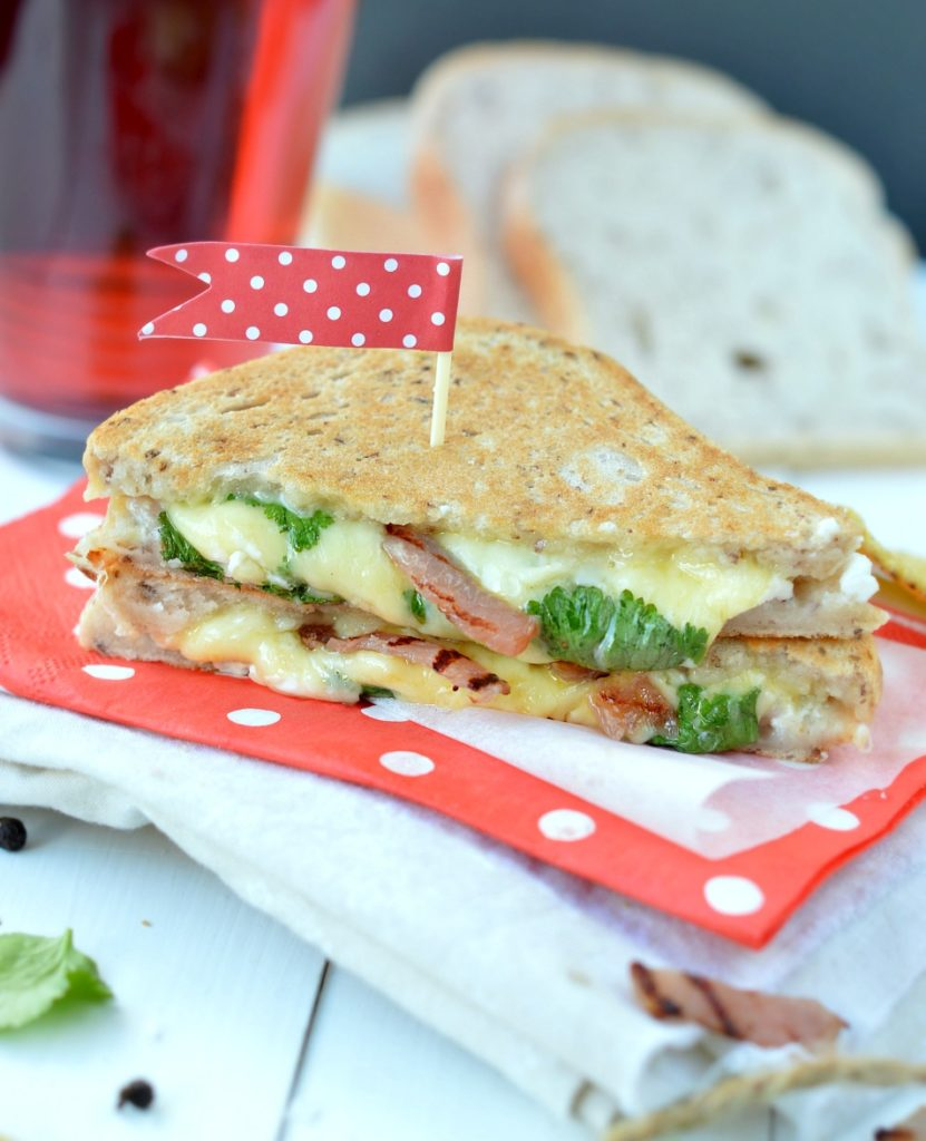 Goat Cheese Sandwich with Honey Glazed Chicken Bacon & Coriander