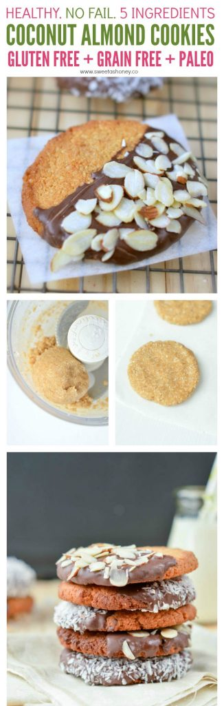 Healthy Coconut Almond Cookies with a crispy ouside and soft center. Gluten free, grain free, paleo with no refined sugar (honey). Ready in 15 minutes.