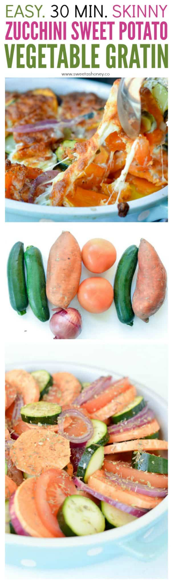 Healthy Zucchini Sweet Potato vegetable gratin recipe with mixed roasted vegetables and cheese.
