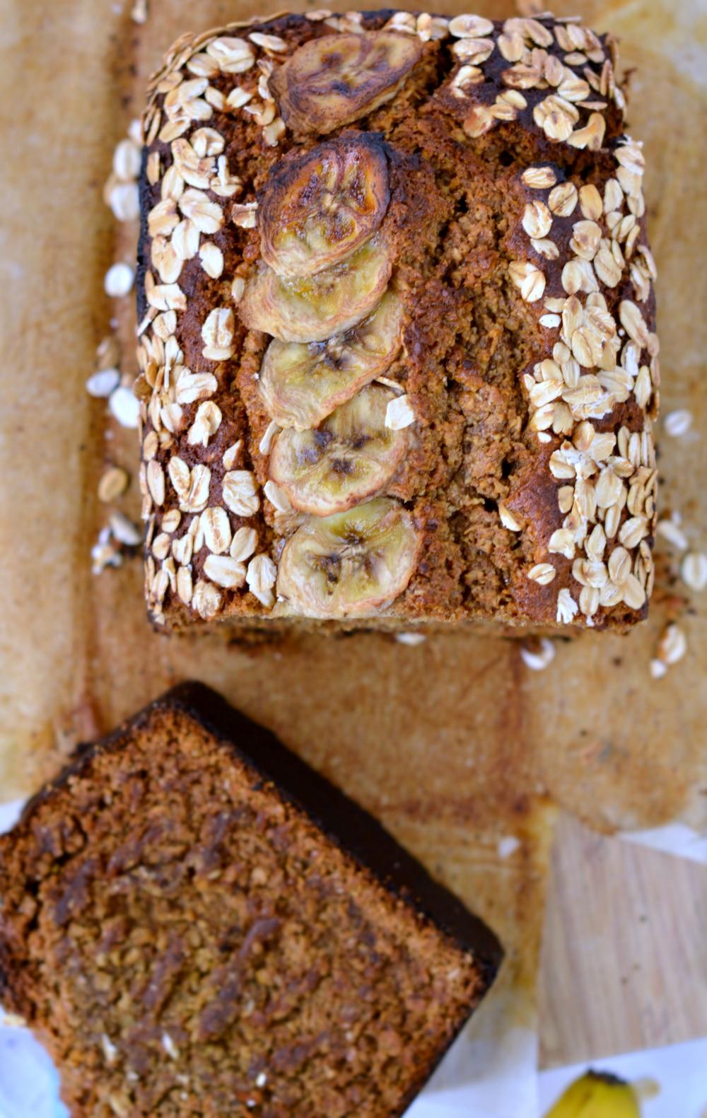 Healthy oatmeal banana bread with wholewheat eggless