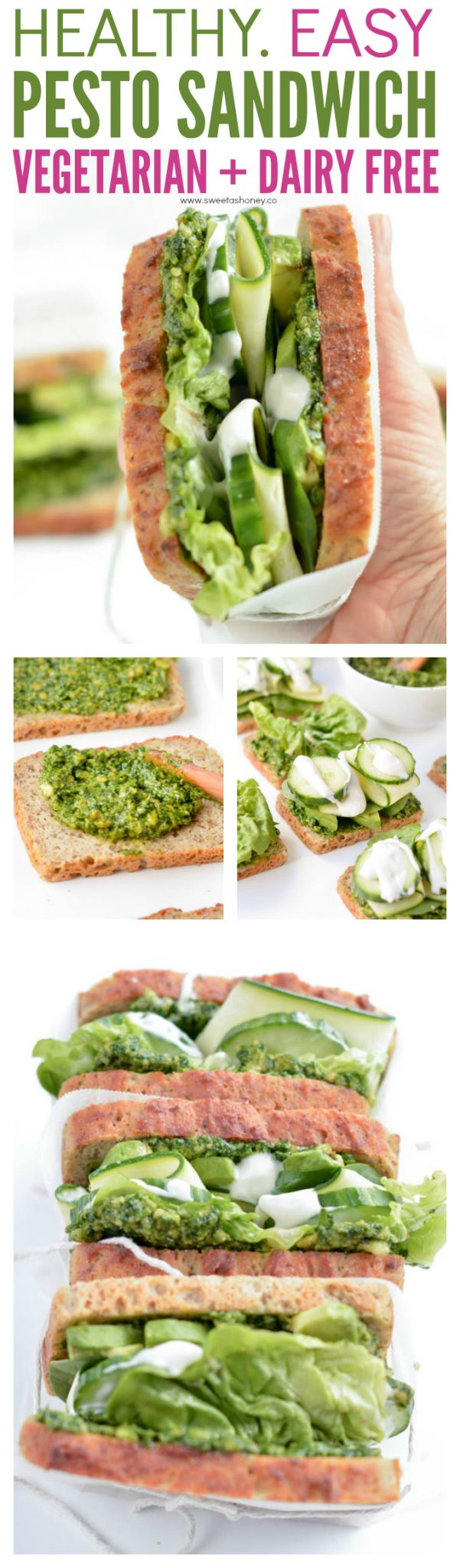 Healthy Vegetarian pesto sandwich. A green goddess paleo sandwich made with homemade paleo cashew pesto - dairy free- avocado, spinach, cucumber and zucchini and a drizzle of coconut oil mayonnaise