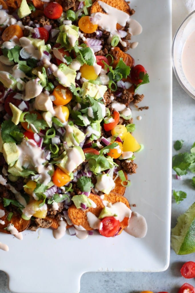 loaded sweet potatoes nachos