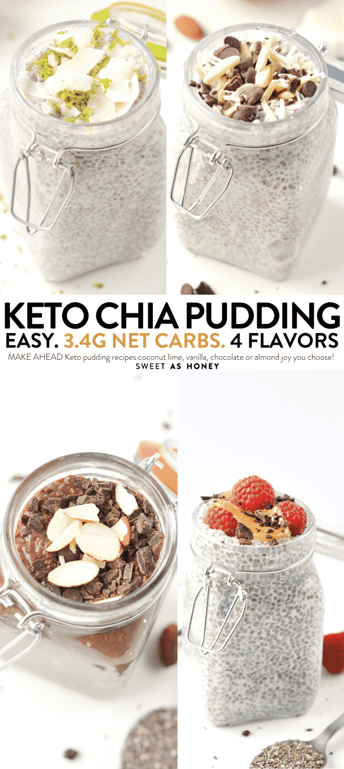 KETO CHIA SEED PUDDINGS 4 WAYS #ketochiaseedpuddings #keto #ketopuddings #chiaseeds #ketobreakfast #easyketo #lowcarbbreakfast #breakfast #chiaseedpuddings #lowcarbchiaseedpudding #ketochiaseedpudding #chiaseedpudding #chiaseed #ketobreakfast #ketorecipes #coconutlime #almondjoy #vanilla #chocolate