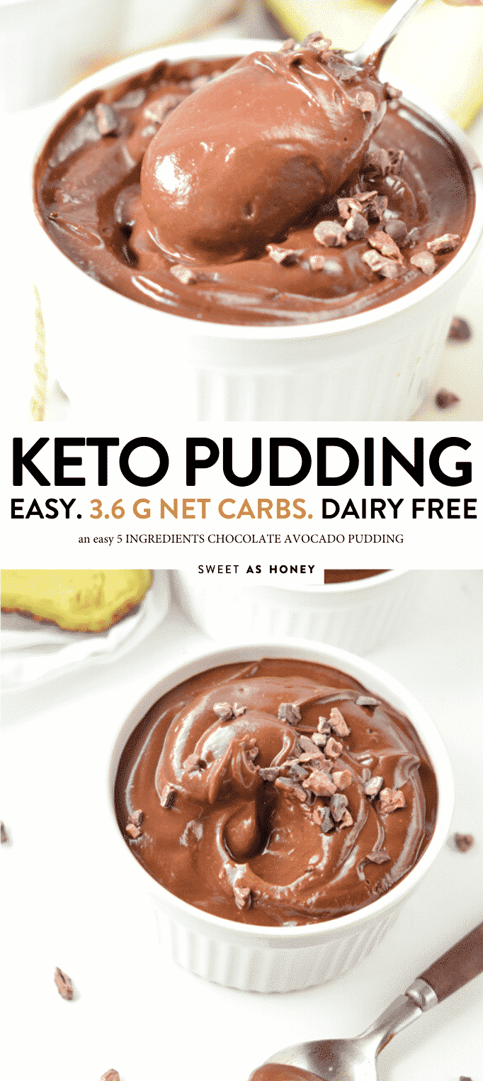 KETO CHOCOLATE PUDDING 3.6 g net carbs #ketopudding #ketochocolate #ketodesserts #ketodessert #ketorecipes #lowcarbpudding #lowcarbdessert #vegandessert #chocolateavocado #avocado #avocadopudding #pudding #paleopudding #paleo #5INGREDIENTS