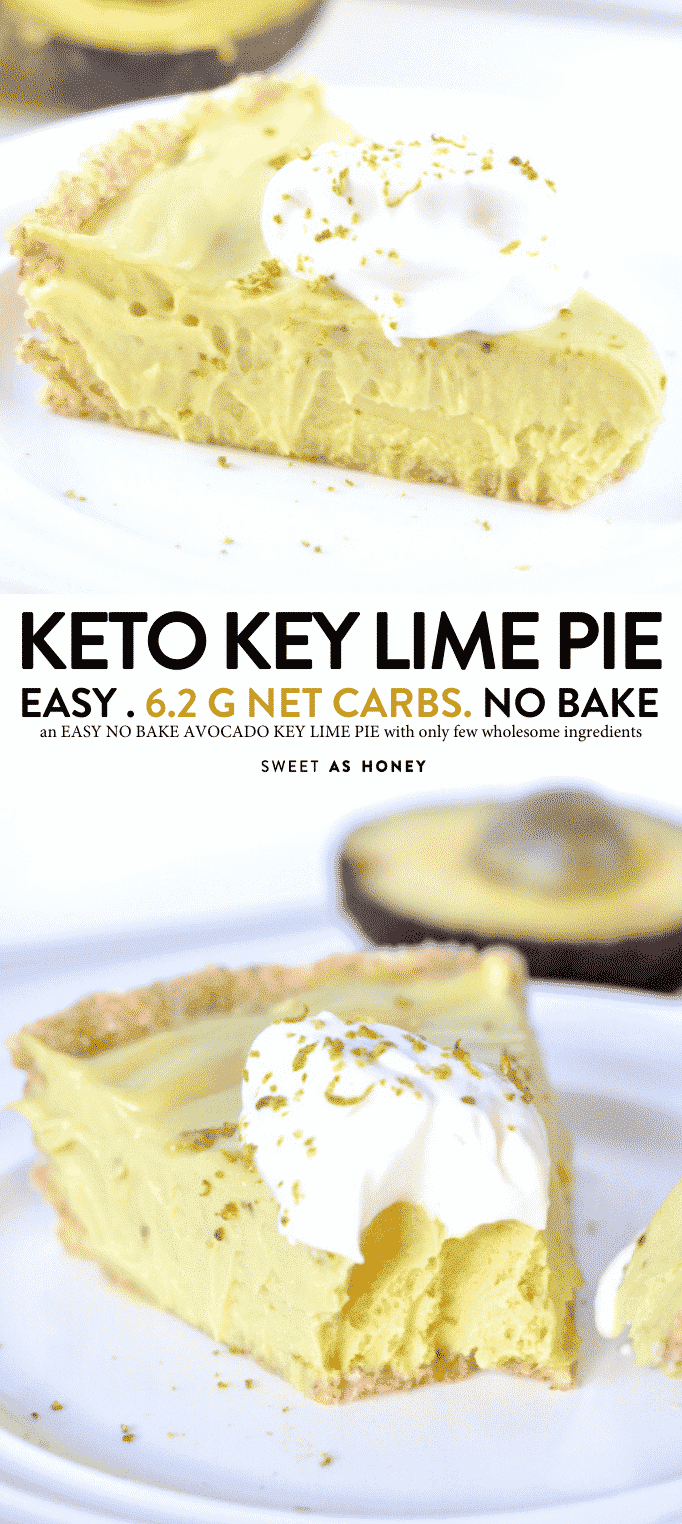 Avocado key lime pie vegan, no bake and low carb. An healthy raw desserts with a coconut almonds and cashew crust with NO dates! #avocado #keylime #pie #vegan #lowcarb""
