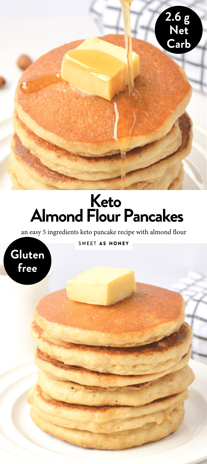 KETO ALMOND FLOUR PANCAKES easy breakfast with only 2.6 g net carbs per pancakes. The best fluffy pancakes to starts the day. #ketogenicdiet #ketopancakes #healthybreakfast #lowcarbfoods #lowcarbrecipes #lowcarbdiet #lowcarbbreakfast #lowcarb #lowcarbpancakes #ketorecipes #ketoforbeginners #ketodiet #ketogenes #ketones #ketosis #almondflourpancakes #glutenfreepancakes #grainfreepancakes #healthypancakes