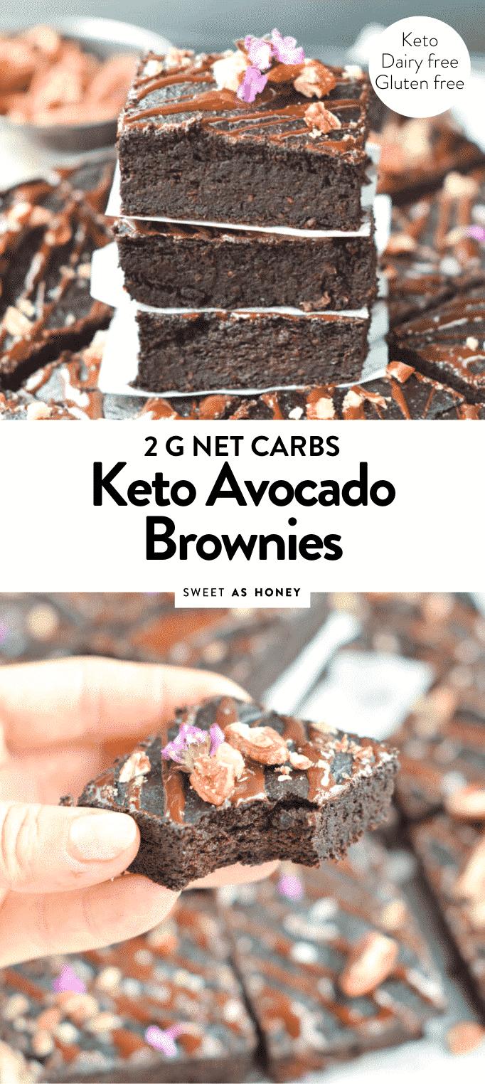 KETO AVOCADO BROWNIES 2 g net carbs #ketobrownies #keto #brownies #lowcarb #avocado #easy #healthy #onebowl #avocadobrownies