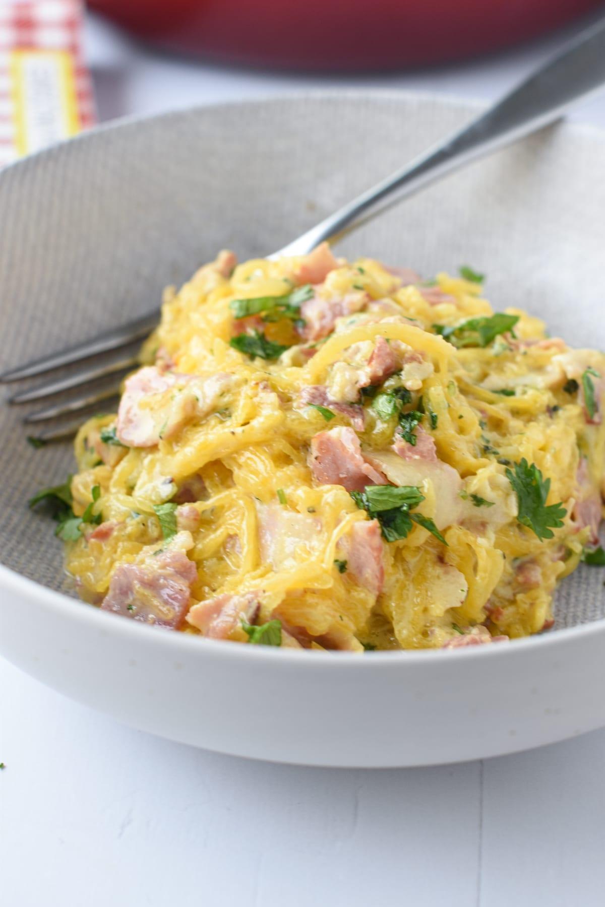 Keto Carbonara Spaghetti Squash