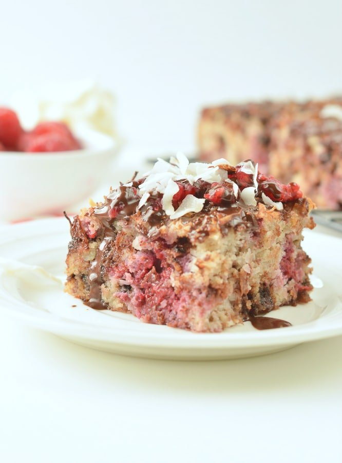 KETO RASPBERRY COCONUT CAKE with Coconut Flour and Chocolate chips #ketocake #ketoraspberrycake #ketococonutflourcake #ketococonutcake #coconutflour #ketodessert #glutenfree #paleo #dairyfree #raspberry