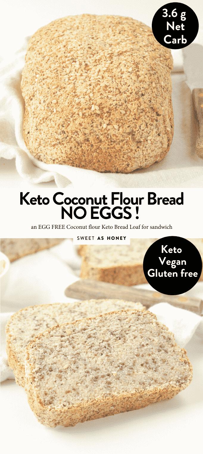 KETO COCONUT FLOUR BREAD WITHOUT EGGS #ketobread #keto #egglessbread #almondflourbread #bestketobread #best #psylliumhusk #easy #vegan #coconutflour