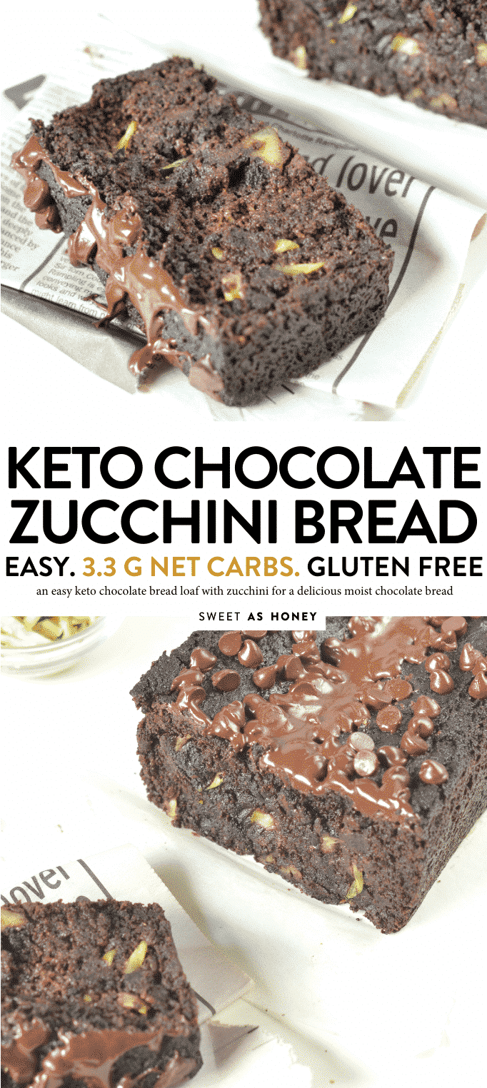 KETO CHOCOLATE ZUCCHINI BREAD only 3.3 g net carbs #ketobread #keto #chocolate #zucchini #chocolatezucchini #glutenfree #easy #healthy #paleo #ketodesserts #ketobaking #ketorecipes #lowcarb