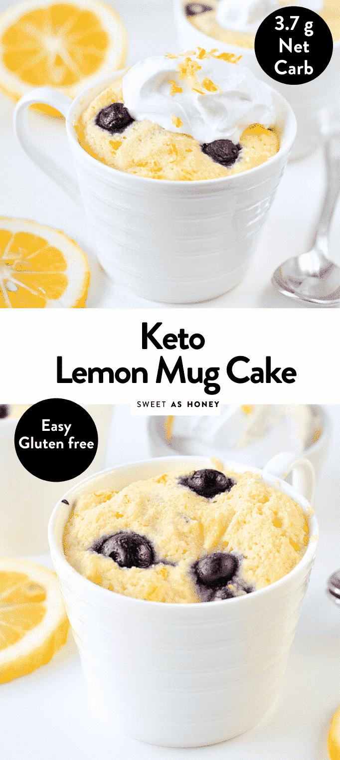 the BEST KETO LEMON MUG CAKE with blueberries. An easy almond flour microwave recipe with only 7 g net carb per serve #ketomugcake #mugcake #lemonmugcake #lemon #lemonrecipes #ketorecipes #lowcarbrecipes #glutenfree #dairyfree #paleo #lemoncake #microwave #healthy #baking #easy #lowcarb #almondflour #blueberry #moist