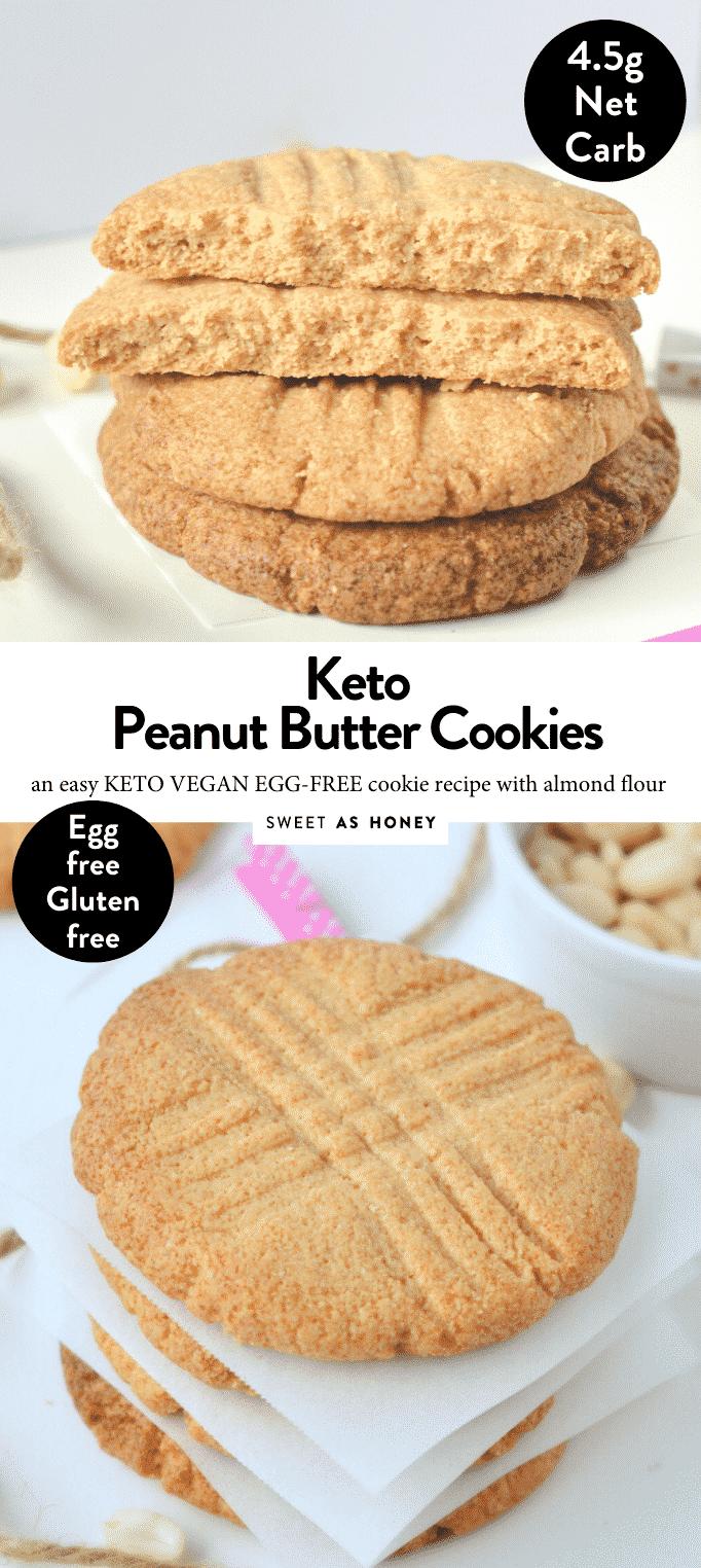 KETO PEANUT BUTTER COOKIES Almond Flour Easy Healthy Keto Vegan Cookies NO eggs, NO sugar NO dairy. Only 4.4 g net carbs per large cookies. #lowcarbpeanutbuttercookies #peanutbuttercookies #lowcarbcookies #ketocookies #ketopeanutbuttercookies #ketovegan #vegancookies #veganpeanutbuttercookies #healthycookies #glutenfreecookies #grainfreecookies #lowcarbrecipes #lowcarbdiet #ketogenicdiet #ketorecipes