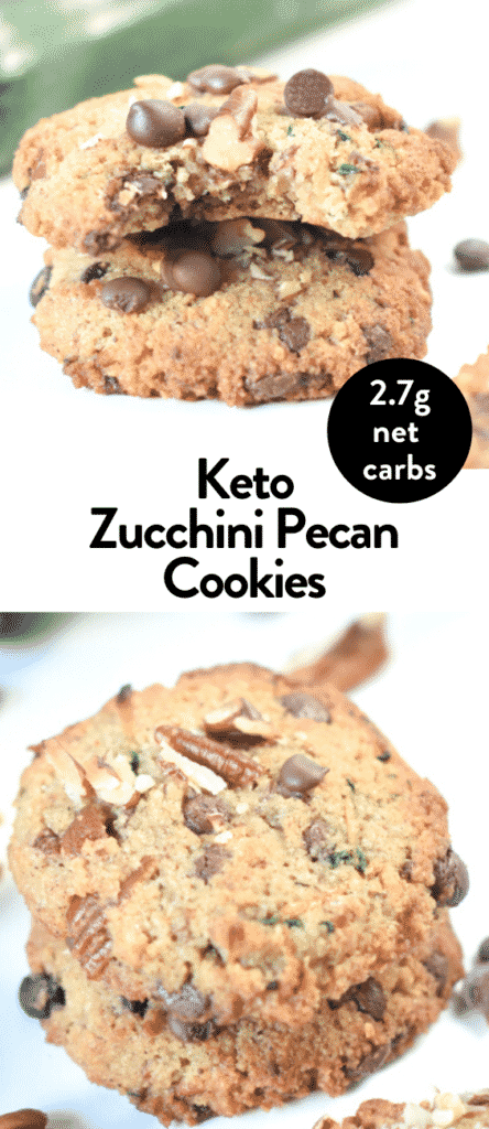 Keto Zucchini Chocolate Chip Cookies with Pecan