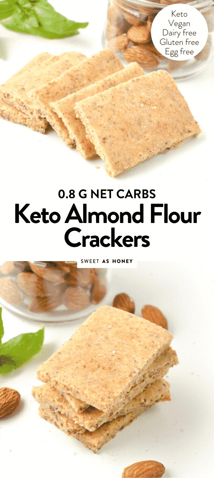 KETO ALMOND FLOUR CRACKERS #keto #almondflour #crackers #lowcarb #vegan #paleo #recipe #noegg #4ingredients #glutenfree