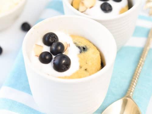 Keto blueberry muffin in a mug