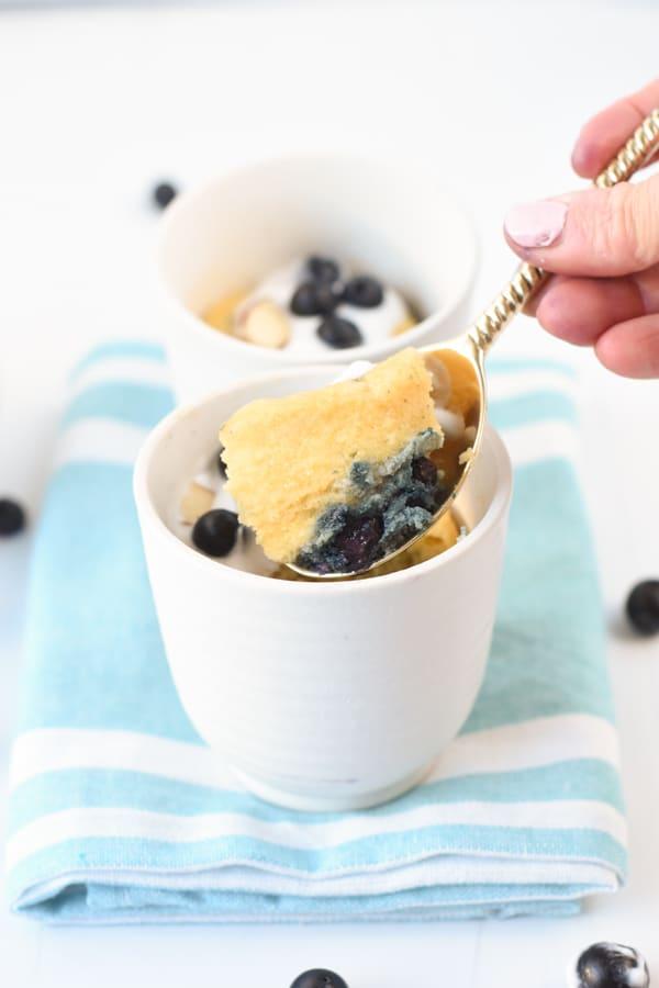Keto blueberry muffin mug cake