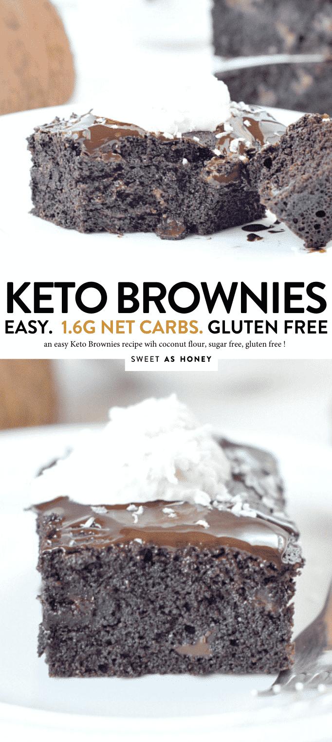 Sugar free brownies. 100% Keto + Low Carb + Gluten free Coconut Flour Brownies. An healthy diabetic dessert, dairy free, paleo. #keto #brownies #sugarfreebrownies #sugarfree #lowcarb #sugarfree #paleobrownies #ketobrownies #dairyfree