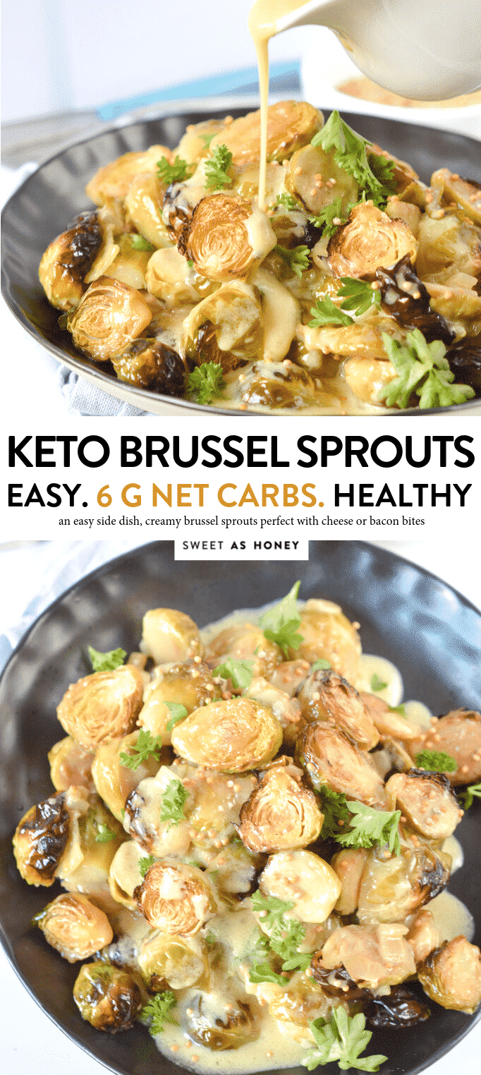 KETO CREAMY BRUSSEL SPROUTS simply rosted in the oven #lowcarb #keto #brusselsprouts #creamy #dairyfree #paleo #roasted #oven