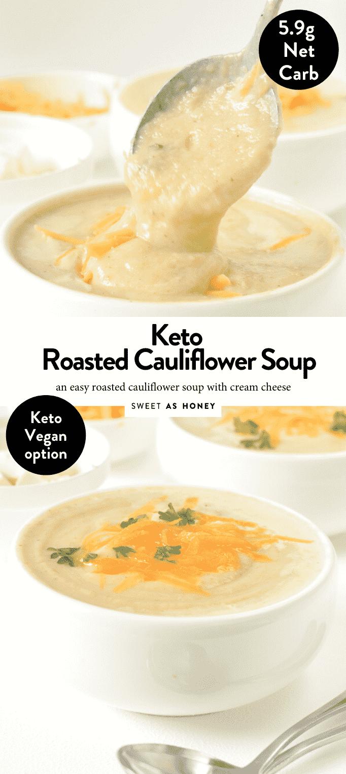 KETO CAULIFLOWER SOUP with cream cheese