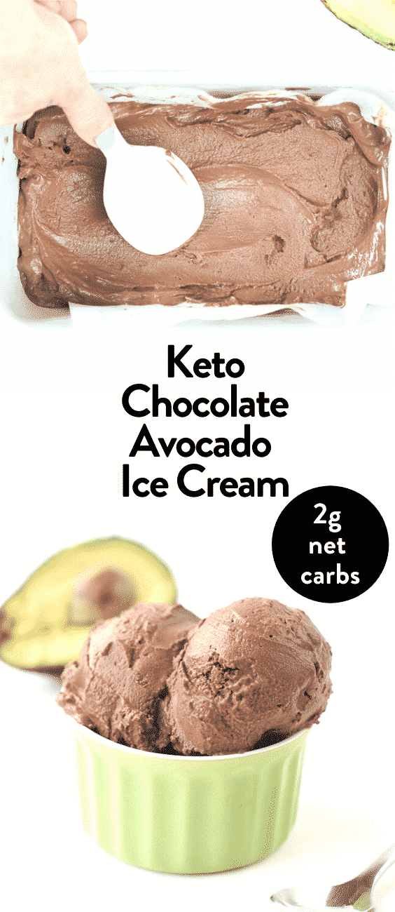 Keto chocolate avocado ice cream