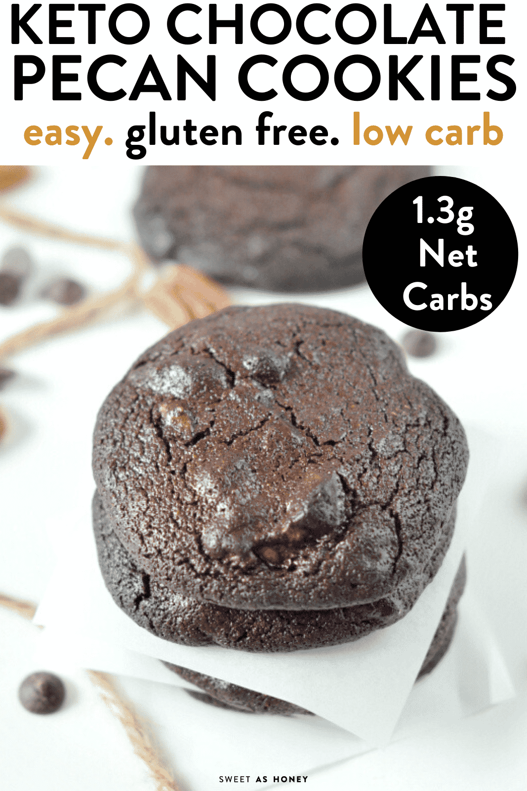 KETO CHOCOLATE COOKIES with Almond flour. An easy low carb treat with less 10 ingredients. #ketocookies #ketochocolate #ketobest #ketogenicdiet #ketorecipes #ketodiet #lowcarbdiet #lowcarbrecipes #lowcarbcookies #glutenfreecookies #ketorecipesforbeginners #ketoeasy #keto #ketosis #ketones #ketoalmondflour