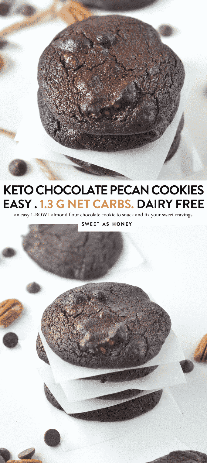 """KETO CHOCOLATE COOKIES with Almond flour. An easy low carb treat with less 10 ingredients. #ketocookies #ketochocolate #ketobest #ketogenicdiet #ketorecipes #ketodiet #lowcarbdiet #lowcarbrecipes #lowcarbcookies #glutenfreecookies #ketorecipesforbeginners #ketoeasy #keto #ketosis #ketones #ketoalmondflour"""""""