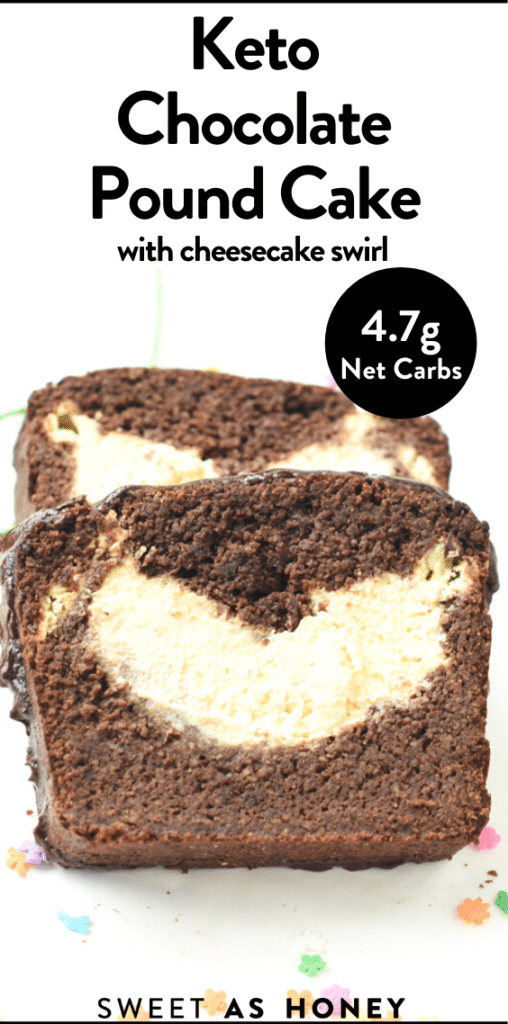 Keto chocolate pound cake with cheesecake swirl